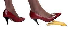 Risico van ongevallen door banaanschil 2 stock fotografie