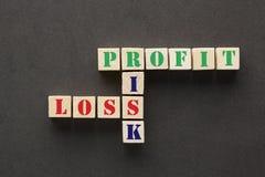 Risico, Winst en Verlies stock foto's