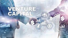 Risicodragend kapitaal op het Virtuele Scherm Bedrijfs, Technologie, van Internet en van het netwerk concept abstracte achtergron vector illustratie