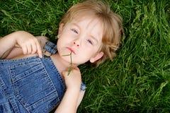 Risiedendo nell'erba fotografie stock
