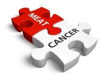 Risiko von Krebs vom Essen des roten Fleisches, des verarbeiteten Fleisches und anderer Tierprodukte, Wiedergabe 3D Stockbild