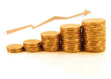 Rising. Currency - stacks of gold coins reflected on white, in upward growth stock images