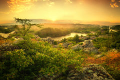 Rising above the river mist Royalty Free Stock Photos