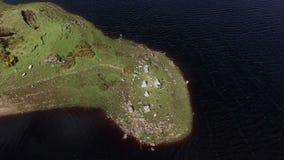 Rising aerial drone of natural Irish peninsula stock video