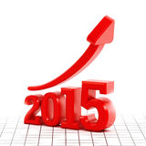 Rising arrow on number 2015. On white background Royalty Free Stock Image