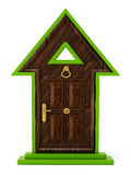 Rising arrow shaped closed door.. 3D illustration Royalty Free Stock Photography