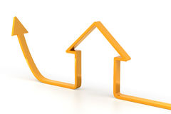 Rising arrow shaped like a house Stock Photography