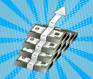 Rising arrow showing financial growth, symbol of wealth, business development and accumulation of money. Pop art style Stock Image