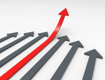 Rising arrows 3D Stock Photo