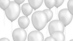 Rising balloons on white background looped stock footage