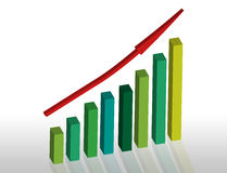 Rising Bar Chart with Red Arrow Royalty Free Stock Images