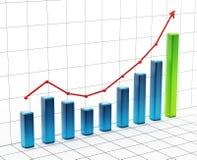 Rising bar graph on grid. 3D illustration.  Royalty Free Stock Image
