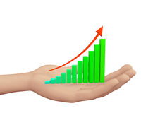Rising Bar Graph. Hand and Rising Bar Graph Stock Images