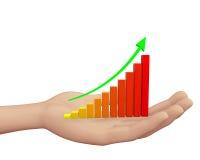 Rising Bar Graph. Hand and Rising Bar Graph Stock Image