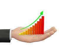 Rising Bar Graph. Hand and Rising Bar Graph Stock Photo