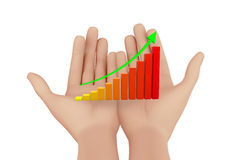 Rising Bar Graph. Hand and Rising Bar Graph Royalty Free Stock Photography
