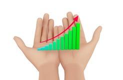 Rising Bar Graph. Hand and Rising Bar Graph Royalty Free Stock Images