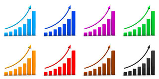 Rising bar graphs Stock Photography