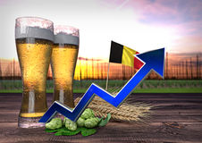 Rising beer consumption in Belgium. 3D render Royalty Free Stock Photo