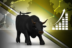 Rising black business bull. In color background Stock Photo