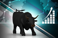 Rising black business bull. In color background Stock Image