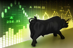 Rising black business bull. In color background Stock Images