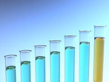 Rising blue and orange test tubes Stock Photo