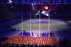 Rising of Brazilian flag at Rio2016 Olympics Stock Photos