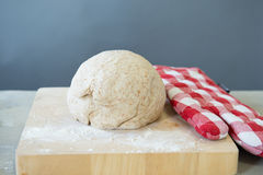 Rising bread dough. In ball form stock photography