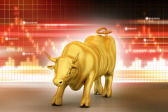 Rising bronze business bull. In color background Stock Photography