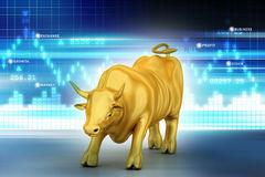 Rising bronze business bull. In color background Royalty Free Stock Photography