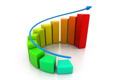 Rising business graph. 3d illustration of Rising business graph Stock Photography