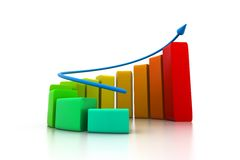 Rising business graph. 3d illustration of Rising business graph Stock Images