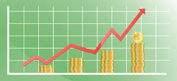 Rising chart with gold coins. Vector illustration Royalty Free Stock Image