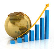 Rising chart with golden globe. 3d render, white background Stock Image