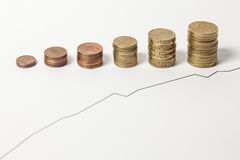 Rising chart. Of a share and Euro coins royalty free stock photography