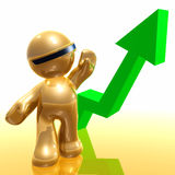Rising chart of success 3d icon Stock Photography