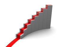 Rising charts, stairs. 3d illustration of rising charts or stairs with red carpet Stock Photography