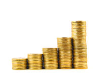 Rising coins (plain front view) Stock Photo