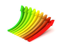 Rising color arrows on white background. 3d render illustration Royalty Free Stock Photo