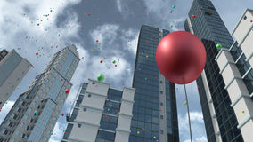 Rising colorful balloons in city 3D rendering. 3D rendering of a modern business company district with rising colorful balloons. 3D rendered modern buildings royalty free illustration