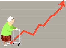 Rising cost. Elderly woman with a walker looking at a steeply rising graph, could represent a rising cost of health insurance, housing etc., EPS 8 vector vector illustration