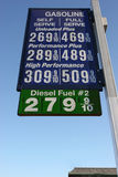 Rising cost of gas. High prices at local gas station stock photography