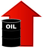 Rising cost of oil. Black barrel of oil with rising red arrow behind - vector Stock Images