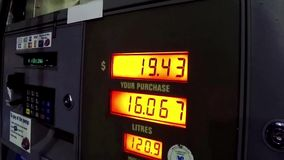 The rising cost of pumping gas stock footage