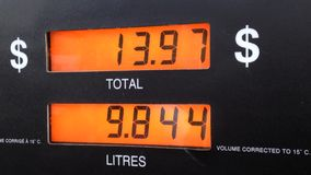 The rising cost of pumping gas stock video footage
