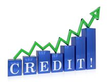 Rising credit graph. 3d rendered rising credit graph , isolated on white background Stock Photos