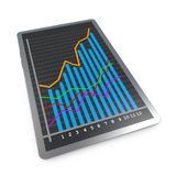 The rising curve chart success. Tablet pc screen showing the profit Royalty Free Stock Photo
