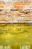 Rising damp on a brick wall in a channel full of water.  stock images