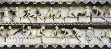 Rising From Death bas relief, Reims Stock Photos